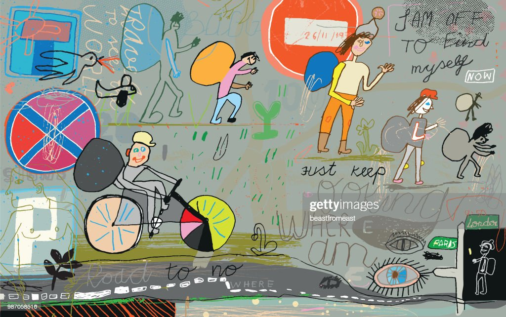 People, backpackers travelling the world : Stock Illustration