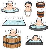 people bathing in hot water pool