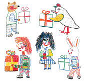 People, bear and bunny with gift boxes