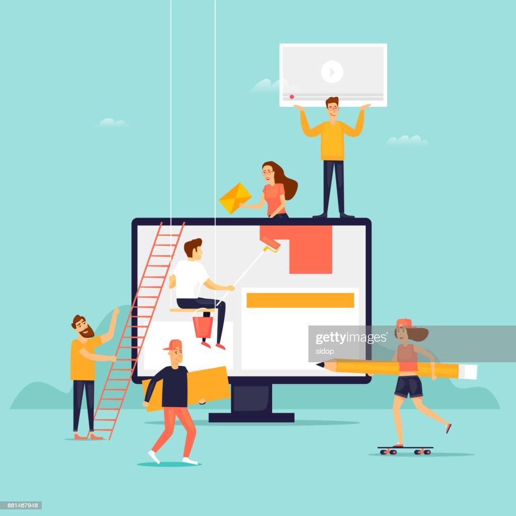 People building website. Flat design vector illustration.