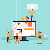 People building website. Flat design vector illustration.