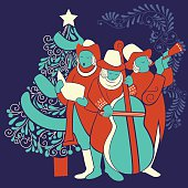 People celebrating and singing carol for festival Merry Christmas holiday