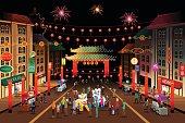 People Celebrating Chinese New Year