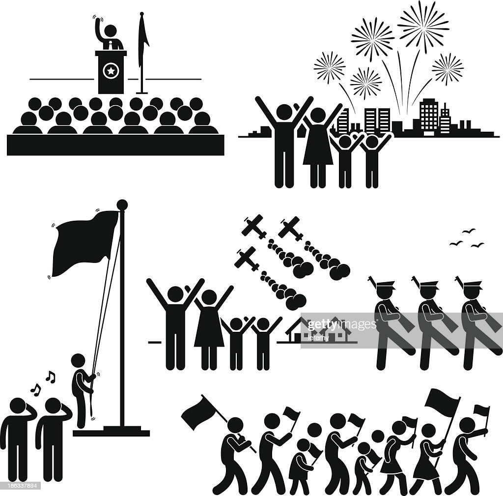 People Celebrating National Day Independence Patriotic Holiday Pictogram