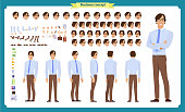 People character business set. Front, side, back view animated character.   Businessman character creation set with various views, face emotions, poses and gestures.