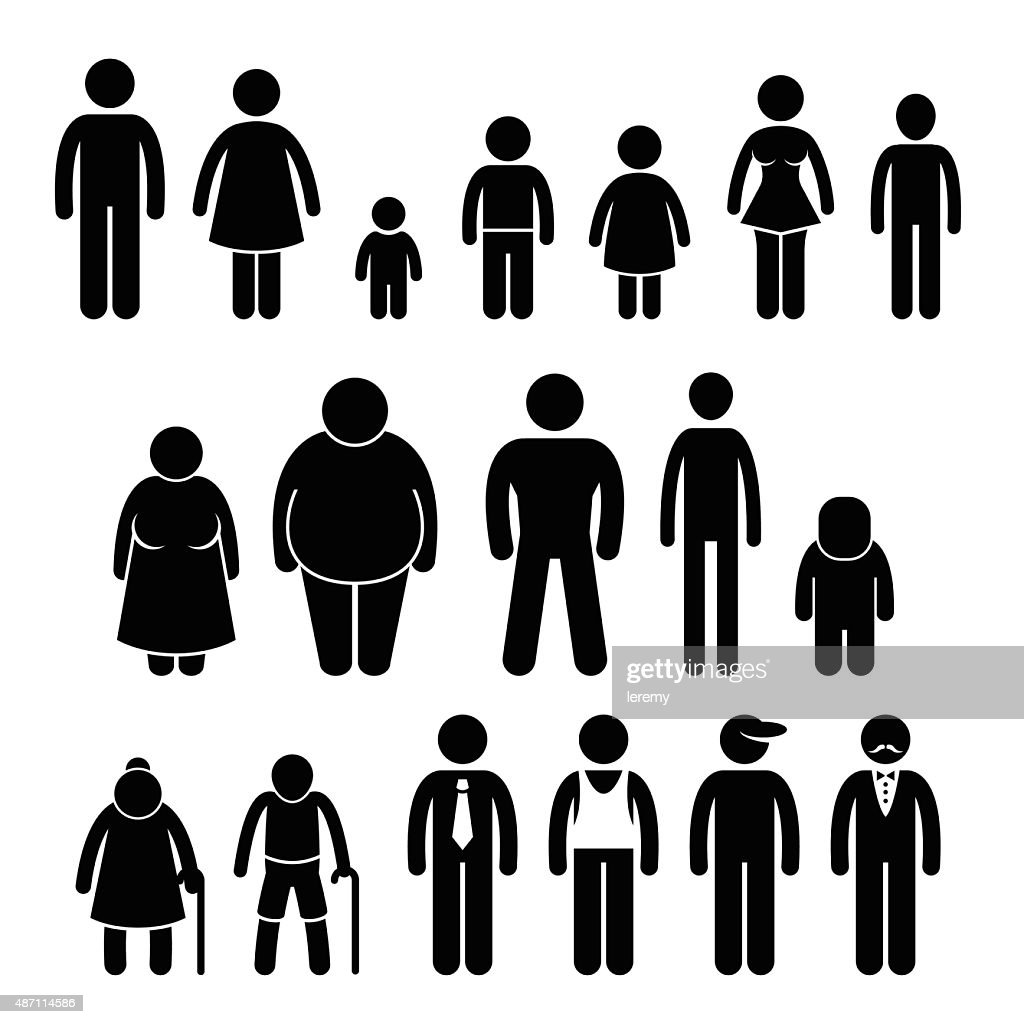 People Character Man Woman Children Age Size Stick Figure Pictogram