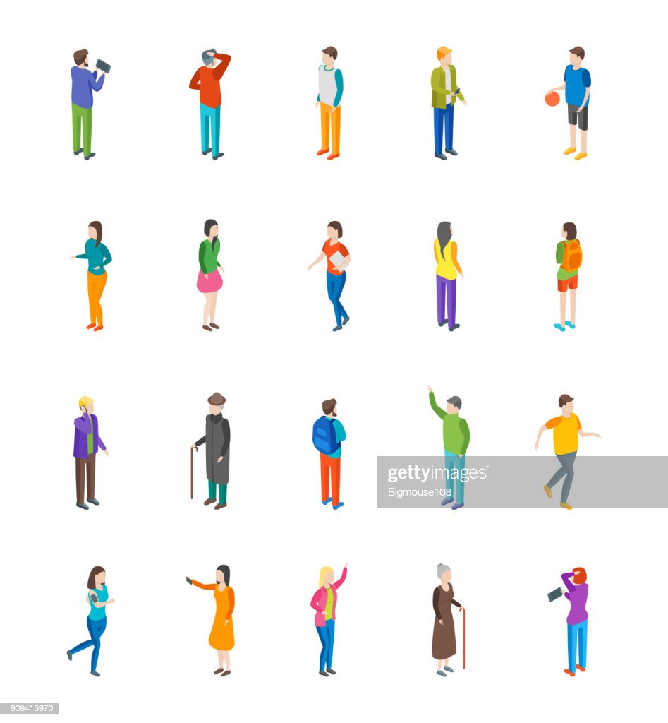 People Characters Icon Set Isometric View. Vector
