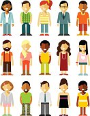 People characters set in flat style isolated on white background