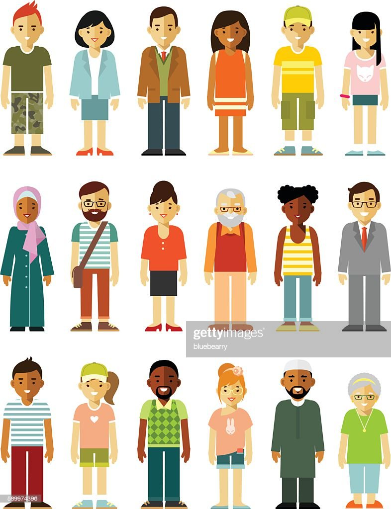People characters standing together set