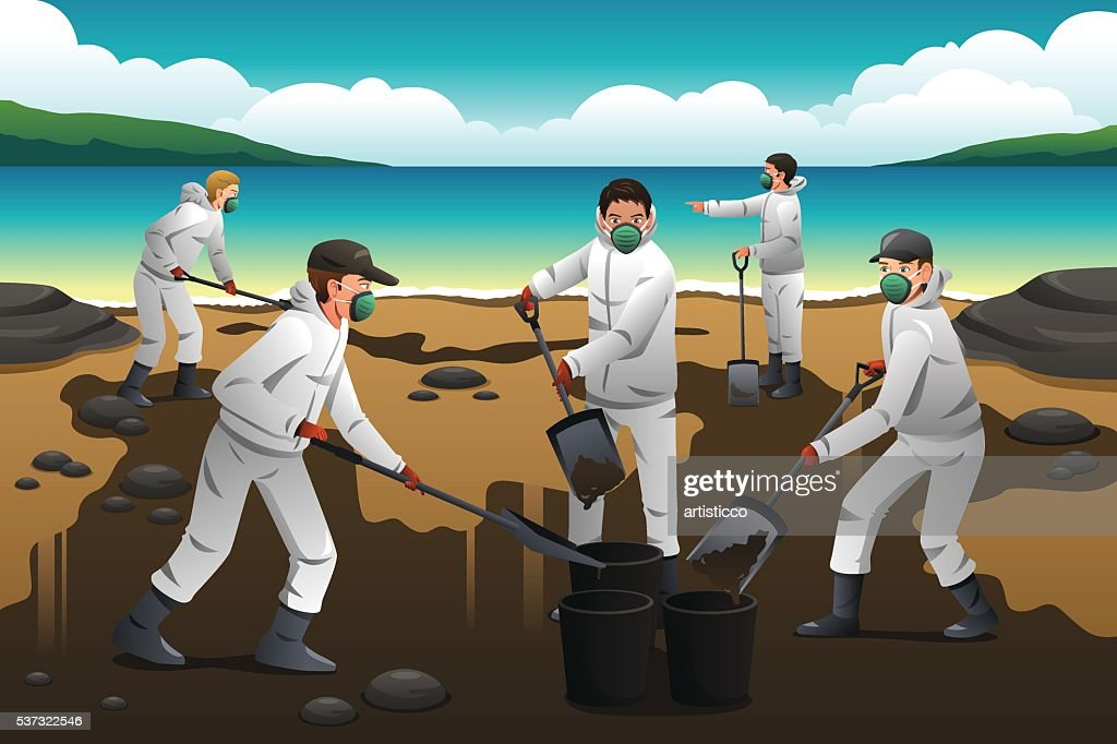 People Cleaning After an Oil Spill