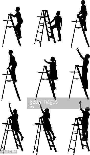 people climbing up step ladder - reaching stock illustrations