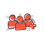People communication user profile icon in comic style. People with plus sign vector cartoon illustration pictogram. Partnership business concept splash effect.
