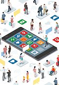 People Community and Isometric Smartphone Vector Infographic