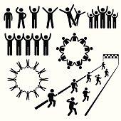 People Community Welfare Stick Figure Pictogram Icons