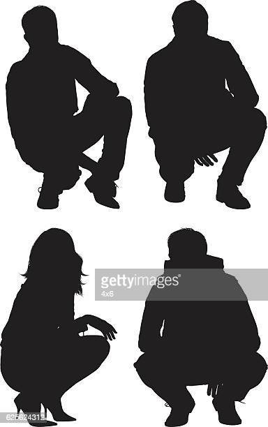 people crouching - crouching stock illustrations, clip art, cartoons, & icons