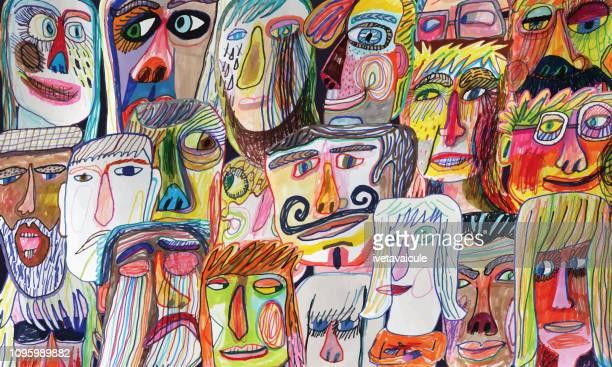 人々 の群衆のパターン - 人種や民族点のイラスト素材/クリップアート素材/マンガ素材/アイコン素材