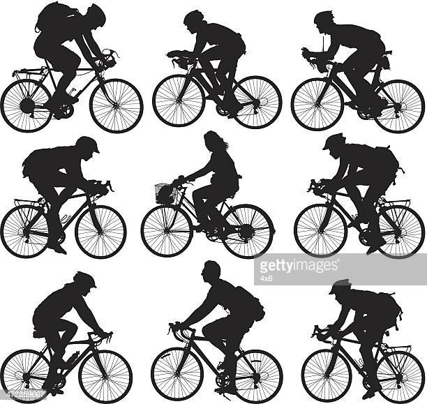 people cycling - bicycle stock illustrations
