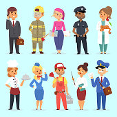 People different professions vector illustration. Success teamwork diversity human work lifestyle. Standing successful young professions policeman, doctor, fireman, chef person character in uniform