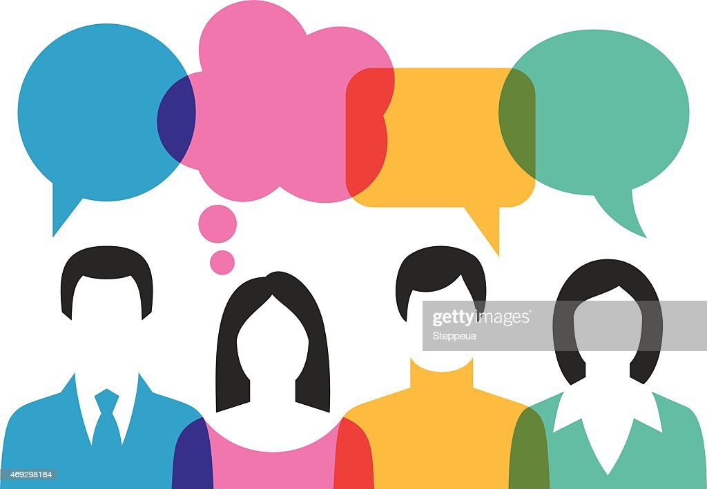 People Discussing With Speech Bubbles