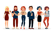 People drinking coffee vector flat illustration. Cartoon characters of young people with cup of coffee spending time together . Girls and boys standing in various poses isolated on white background.