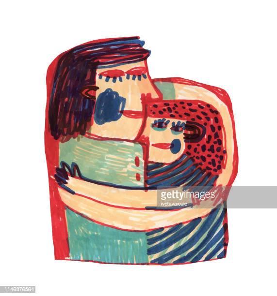 ilustraciones, imágenes clip art, dibujos animados e iconos de stock de las personas que abrazan - madre e hija