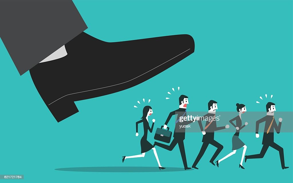 People escapes from the big foot : stock illustration