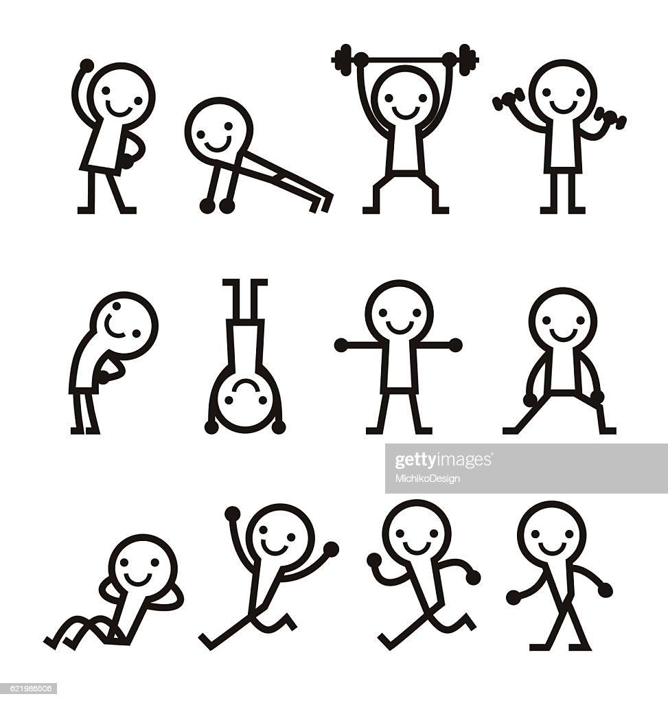 People exercise icon set