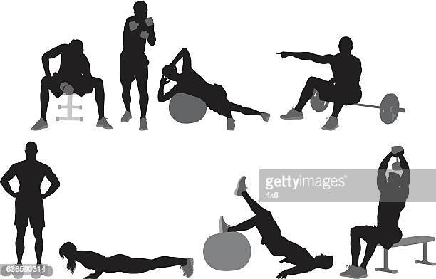 people exercising - weight training stock illustrations