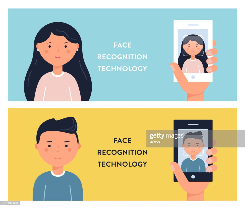 People Faces and Smartphone Screens. Face Recognition Technology Vector Illustation