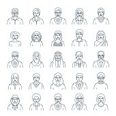 People faces avatars flat thin line vector icons