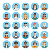 People faces avatars flat vector icons