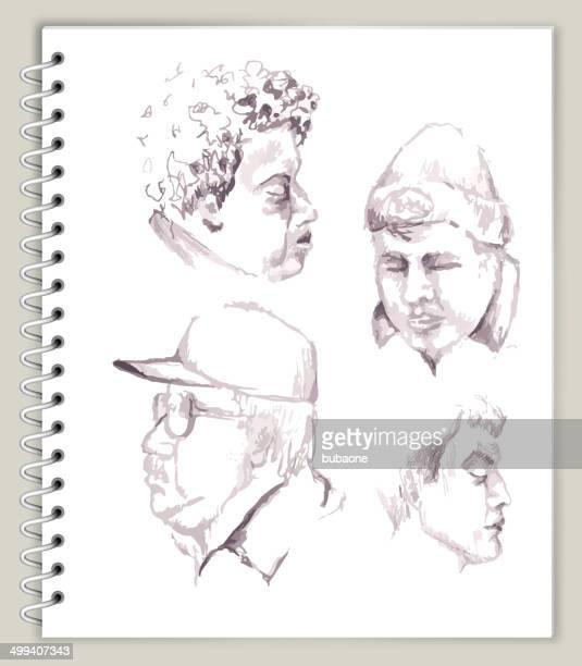 People Faces Drawing On Art Sketcbook Royalty Free Vector Art Vector