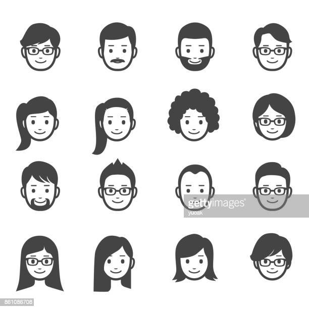 people faces icons - women stock illustrations