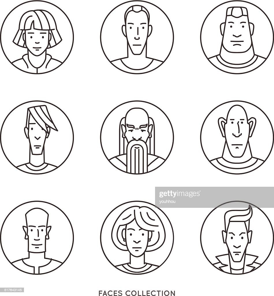 People faces of different ages and social groups