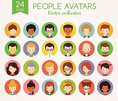 People faces. Set of round vector avatars.