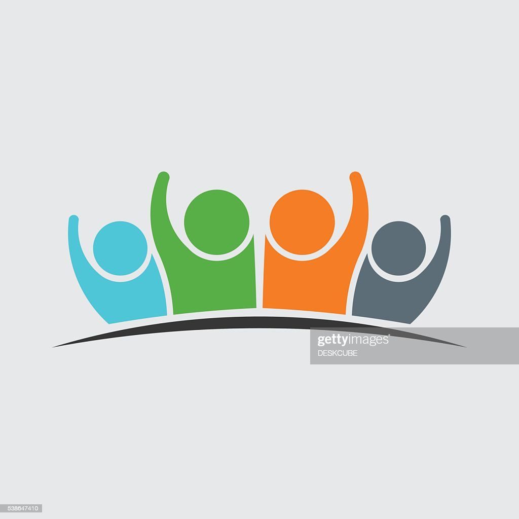 People Family Group of Four Persons Logo