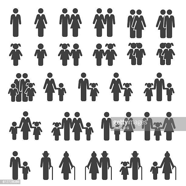 people family icons set - simplicity stock illustrations, clip art, cartoons, & icons