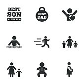 People, family icons. Swimming, baby signs