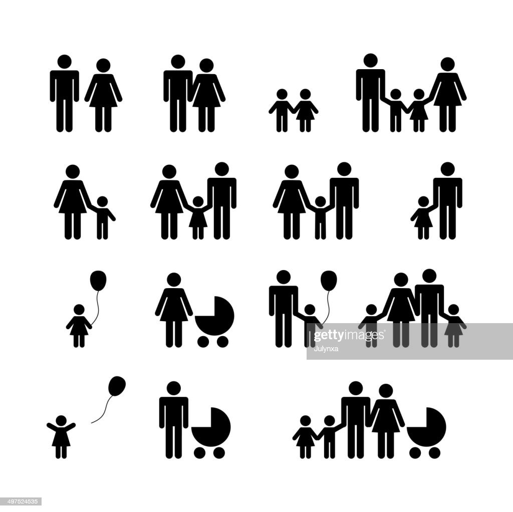People Family Pictogram. Set 16 icons