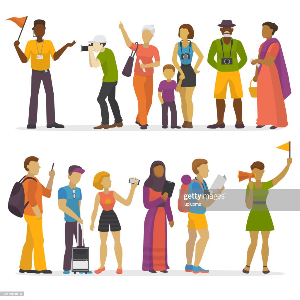 People family traveling on vacation traveler characters happy trip journey couple vector illustration