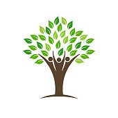 People Family Tree Logo. Vector Illustration