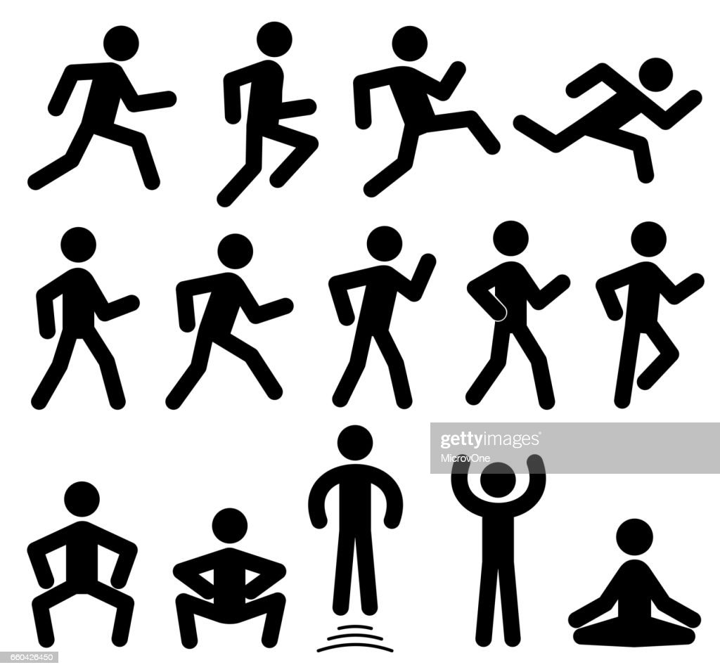 People figures in motion, running, walking, jumping vector black icons