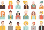 People flat icons vector set (men and women). Part two.