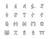 People flat line icons set. Person walking, running, jumping, climbing stairs, happy man, company leader, friends hugs vector illustrations. Human outline signs. Pixel perfect 64x64. Editable Strokes
