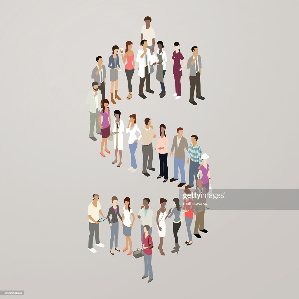 People forming dollar sign : Vector Art