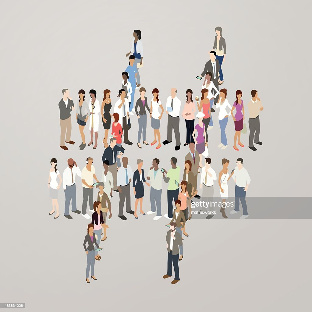 People forming hashtag : Vector Art