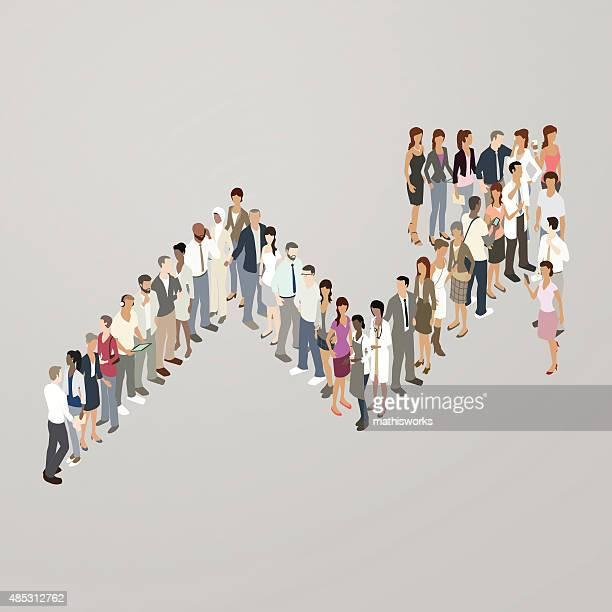 People forming increase arrow