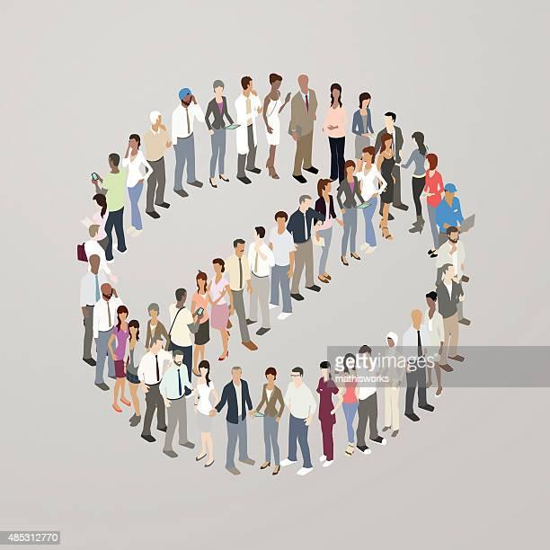 People forming NO symbol