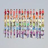 People Forming Rainbow Illustration