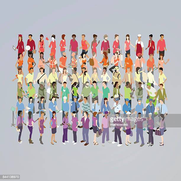 People Forming Rainbow Illustration